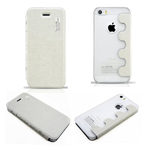 DLONS Premium Ultra Slim Thin Flip Folio PU Leather Case Cover with PC Backcover Shell for Apple iPhone 5 5S - White
