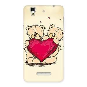 Gorgeous Cute Heart Twin Teddy Back Case Cover for YU Yureka Plus