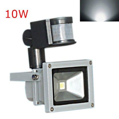 Hkbayi 10W Pir Motion Sensor Led Flood Light Floodlight Landscape Lamp White Ac 85-265V