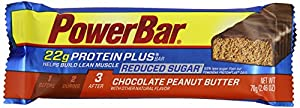 PowerBar Protein Plus 22g, Chocolate Peanut Butter Reduced Sugar, 2.46-Ounce Bars (Pack of 12)