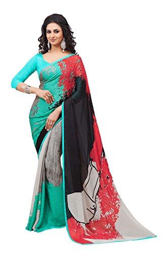Multi Color Crepe Silk Party Wear Saree