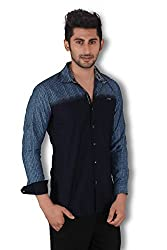 Kivon Men's Navy & Blue Slim Fit Casual Shirt