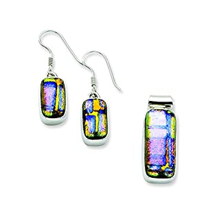 Sterling Silver Muliticolor Dichroic Glass Earrings & Pendant Set