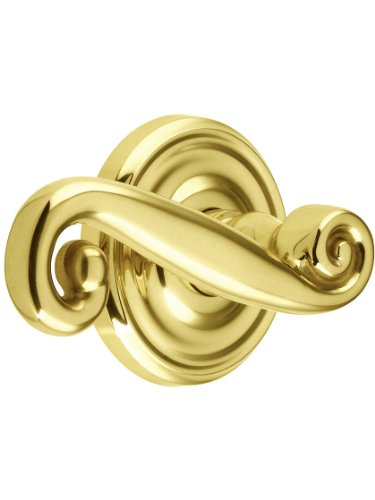 Classic Rosette Set With Rustic Levers Left Hand Privacy In Polished Brass. Doorsets. front-780292