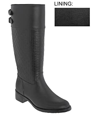 Capelli New York Solid Opaque With Two Back Buckles Ladies Equestrian Body Jelly Rain Boot Black 6