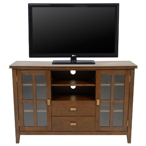 Cheap Simpli Home AXCHOL005 Artisan Collection 54-Inch Width by 36-Inch Height Tv Stand, Medium Auburn Brown, 1-Pack (AXCHOL005)