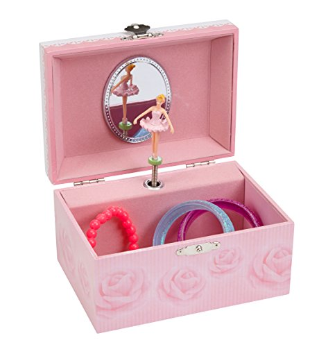 JewelKeeper Musical Jewelry Box with Pink Rose Design, Swan Lake Tune