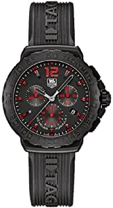 Tag Heuer Formula 1 Chronograph Black Dial Black Rubber Mens Watch CAU111A.FT6024