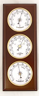 Analog Wall Mounted Weather Station. Mahogany Wood Finish from Lily's Home