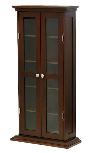 Sale!! Winsome Wood CD/DVD Cabinet with Glass Doors, Antique Walnut