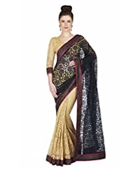 Black Beige Wedding Wear Indian Flower Net Saree-Zari Stone Work On Blouse & Border