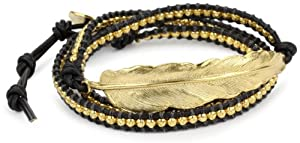 M.Cohen Handmade Designs Gold Bead and Feather Charm On Black Triple Wrap Bracelet
