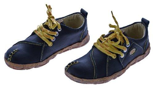 Leder Schuhe Damen Comfort Schwarz Ziernähte Gelb TMA Eyes Gr. 39