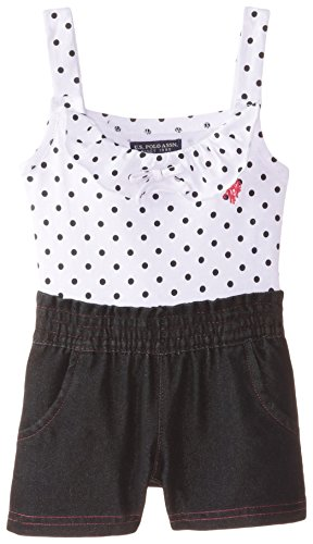 U.S. Polo Assn. Baby Girls' Polka Dot Print Jersey Top and Denim Short Romper, Black, 12 Months Embroidered Jersey Romper