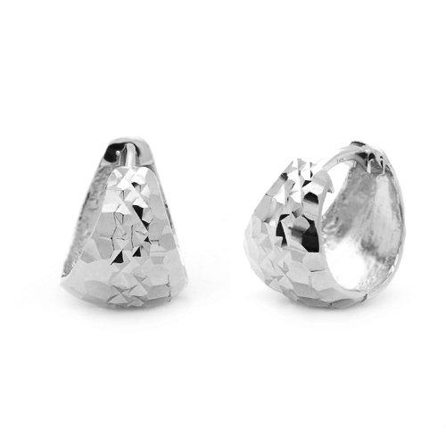 Little Treasures 14ct White Gold 8mm Italian Huggie Hoop Earrings 11mm Diameter