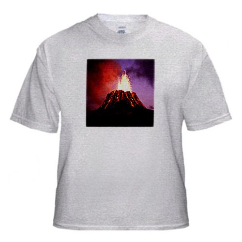 Hawaii Volcano Eruption at Night - Adult Birch-Gray-T-Shirt Small