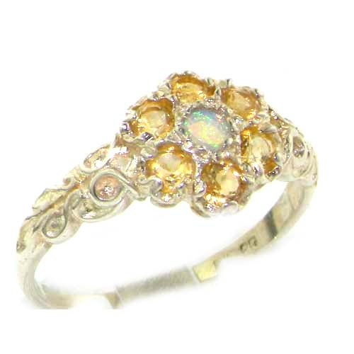 Victorian Ladies Solid Sterling Silver Natural Fiery Opal & Citrine Daisy Ring - Size 12 - Finger Sizes 5 to 12 Available - Suitable as an Anniversary ring, Engagement ring, Eternity ring, or Promise ring