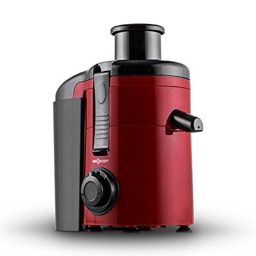 oneConcept Juice Ninja - Centrifugeuse / extracteur de jus de 250W (11.000 tours/min, 2 vitesses, récipient de 1,2L) - rouge