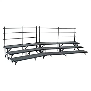 Tapered Standing Choral Riser Set in Carpet Riser Level: 2-Level, Color: Blue, Guard Rail: Not Included