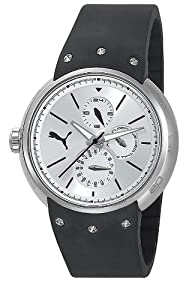 Puma Motorsport Hero - Small Unisex Quartz Watch with Silver Dial Analogue Display and Black Silicone Strap PU102672002