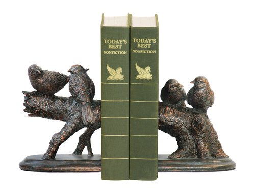 Sterling Home Pair of Continuing Branch Resting Finch Bookends, 6-1/4-Inch Tall