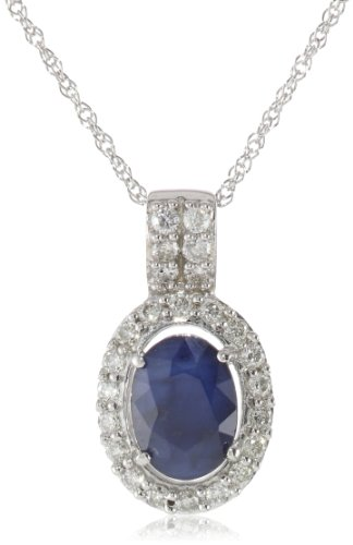 10K White Gold Diffused Sapphire and Diamond Pendant Necklace (.2 Cttw, G-H Color, I1-I2 Clarity), 17""