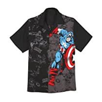 Licensed Marvel Captain America Two-Tone Hawaiian Camp Shirt - Large