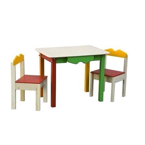 tavolo con due sedie cassetto contenitore fatto inlegno multicolor made in italy