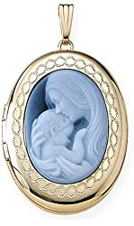 Solid 14K Yellow Gold Oval Mother and Child Cameo Locket 3/4 Inch X 1 Inch in Solid 14K Yellow Gold