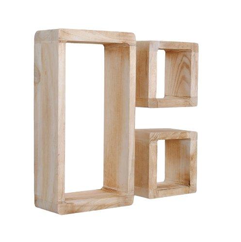set di 3 mensole a cubo da parete o da appoggio stile retr rustico in legno massello color rovere. Black Bedroom Furniture Sets. Home Design Ideas