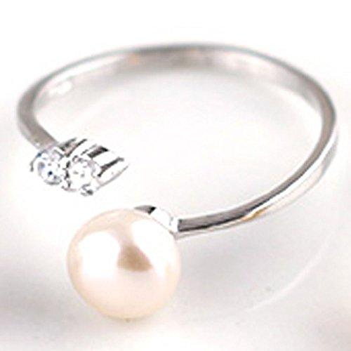 [ジュエリーキャッスル] Jewelry Castle SV925 シルバー925 指輪 リング c型リング 淡水パール (7-8mm) フリーサイズ フォークリング ホワイト
