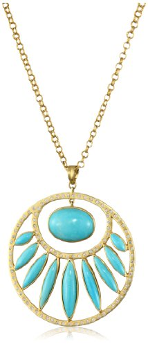 Lauren Harper Collection Archipeligo Blue 18k Gold, Sleeping Beauty Turquoise and Diamond Round Pendant Necklace