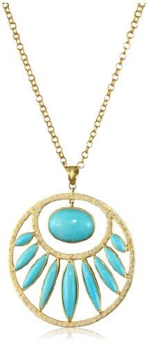 Lauren Harper Collection Archipeligo Blue 18k Gold, Sleeping Beauty Turquoise and Diamond Round Pendant Necklace