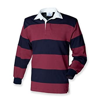 Front Row Sewn Stripe Long Sleeve Rugby Shirt: Amazon.co ...