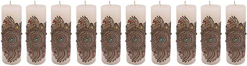 "Craftandcreations Set Of 10 Wax Henna Art Work Candles (6""x2"", White)"