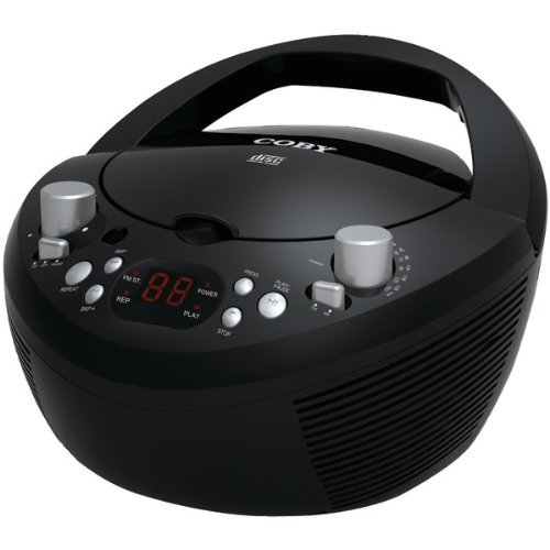 Coby CXCD251BLK Portable CD Player with AM/FM Radio, Black