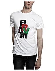 TOMO Men's Cotton White Color Round Neck BRAVE Printed T-shirt