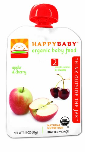 HAPPYBABY Organic Baby Food, Stage 2, Apple & Cherry, 3.5-Ounce Pouches (Pack of 16)