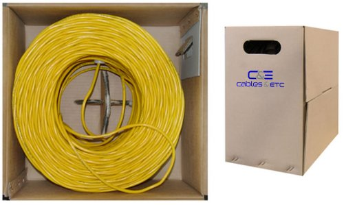 C&E 1000 feet CAT 5E 24AWG 4PR UTP Plenum Solid Ethernet Cable CMP Rated Yellow