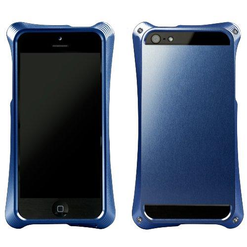 ABEE iPhone5対応アルミジャケット カケンアルマイト 【超肉厚5.4ミリ硬質アルミニウム採用 3次元曲線フォルム】 裏面シールドタイプ ブルー MA-5R02-BLK