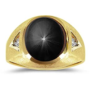 0.02 Cts & 5.46 Cts of 12x10 Oval 2 Ray Black Star Sapphire Mens Ring in 14K Yellow Gold-10.0