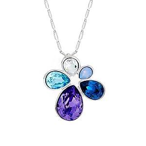 Pugster Silver Flower Tanzanite Aquamarine Montana Clear Swarovski Crystal Drop Pendant Gift
