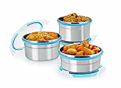 Steel Lock CS8 Airtight Storage Containers Set of 3 Assorted colors