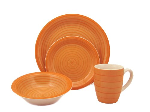 Lorren Home Trends 16-Piece Stoneware Dinnerware Set, Orange