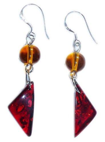 Cognac amber Earrings on 925 sterling silver hooks