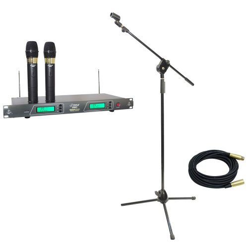 Pyle Mic And Stand Package - Pdwm2550 19'' Rack Mount Dual Vhf Wireless Rechargeable Handheld Microphone System - Pmks3 Tripod Microphone Stand W/ Extending Boom - Ppmcl30 30Ft. Symmetric Microphone Cable Xlr Female To Xlr Male