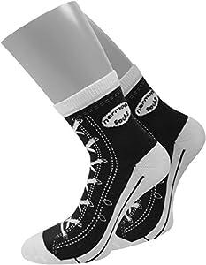 4 Paar Socken im chuck-Design mit vielen originalgetreuen Details Größe 35/38 Farbe Schwarz