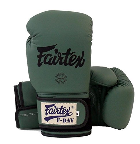 Fairtex Muay Thai Boxing Gloves Limited Edition BGV11 F Day Military Green Size 10 12 14 16 oz Training & Sparring Gloves for Muay Thai Kick Boxing MMA K1