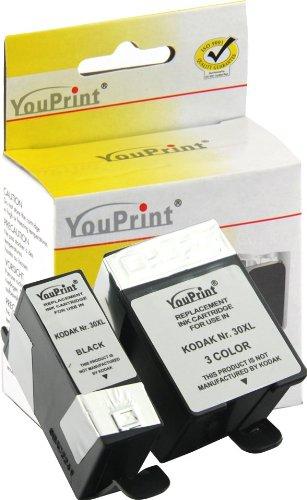 2 Druckerpatronen Kodak 30 black + color passend für Kodak ESP C110 C310 C315 Office 2150 Office 2170, Kodak HERO 3.1 5.1 XL Befüllung der Marke Youprint