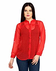 Snoby Red Color Long Sleeve Polyester Top (SBY1036)